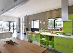 cocina de estilo industrial color verde
