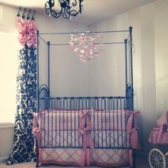 Wrought iron pewter crib for baby girls room!