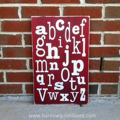 ABC's Alphabet Sign - Distressed Word Art  - Perfect for a playroom, classroom or nursery. $75.00, via Etsy.