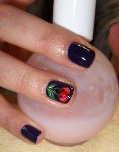 Dark Cherry Nail Art Design Garra Ringfinger Fingernail Designs