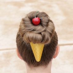 How to Make a Messy Bun Ice Cream Cone by Erin Balogh In this video I show you my technique for a Messy Hair Bun and how to make it into a fun Ice Cream Cone Hairstyle. To learn more about these accessories head to my website www. Crazy Hair Day Girls, Crazy Hair For Kids, Crazy Hair Day At School, Girl Hair Dos, Crazy Hair Days, Girl Short Hair, Little Girl Hairstyles, Messy Hairstyles, Crazy Hairstyles