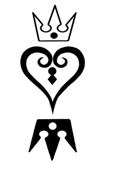 I always wanted to create my own Kingdom Hearts symbols and now I did. This Kingdom Hearts of hearts and crown owned by Tetsuya Nom. My Own Kingdom Hearts Symbol Kingdom Hearts Tattoo, Kingdom Hearts 1, Kingdom Hearts Wallpaper, Heart Wallpaper, Anime Tattoos, Body Art Tattoos, Heart Stencil, Queen Tattoo, Sisters By Heart