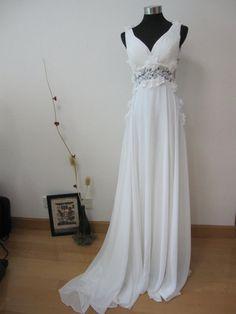 Sexy Lace Back Grecian White Chiffon Wedding Dress by AllureBridal  Matrimoni Unici 6656daa4ae2