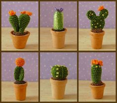 PDF PATTERN To Crochet 6 Miniature Amigurumi Cactus Plants