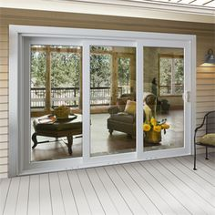 Premium™ Vinyl Multi-Slide Patio Doors Bring the outdoors in. Take a simple and elegant approach to creating large, open spaces within your home. French Doors Bedroom, Sliding French Doors, French Doors Patio, Sliding Patio Doors, Sliding Glass Doors, Patio Door Blinds, Patio Stairs, Jeld Wen, Slider Door