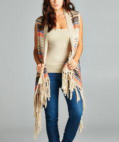 Look at this #zulilyfind! Beige Stripe Fringe Vest by VELZERA #zulilyfinds