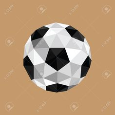 Illustration Of Abstract Origami Soccer Ball On Brown Background ...