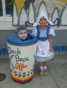 Halloween costume ideas for boy and girl couple. Dutch Bros coffee and a dutch girl Dutch Brothers, Dutch Bros, Girl Costumes, Costume Ideas, Halloween Ideas, Halloween Costumes, Girl Couple, Autumn, Fall