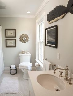 Beach Glass Interior Designs - bathrooms - Benjamin Moore - Edgecomb Gray - brushed nickel fixtures
