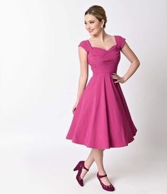 Exclusive Stop Staring! Mad Style Fuchsia Cap Sleeve Swing Dress - Bridesmaid - Dresses - Clothing | Unique Vintage