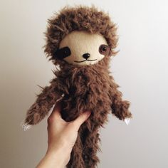 Kawaii Sloth Stuffed Animal Plushie in Brown by bijoukitty on Etsy