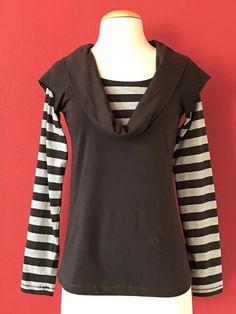 NWT ANTHROPOLOGIE Le Phare De La Baleine Taupe Gray Stripe Knit Top Size S $98 #LePhareDeLaBaleine #KnitTop #Casual