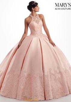 Awe-inspiring Mikado gown with a sheer halter, sweetheart neckline and full box-pleated skirt. The bodice and hem have been embellished with embroidery and crystal beading. Xv Dresses, Quince Dresses, Ball Gown Dresses, Couture Dresses, Bridal Dresses, Fashion Dresses, Bridesmaid Dresses, Prom Dresses, Pretty Quinceanera Dresses