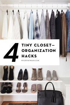 Brilliant hacks to organize a super small closet.