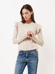 Women's Ruffle Shoulder Sweater Beige