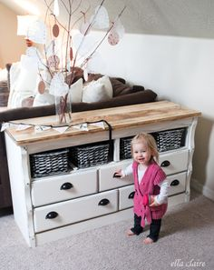 {Ella Claire}: A DIY Refinished Side Table with Lots of Storage!