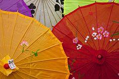 Colorful parasols at the Missouri Botanical Garden's Japanese Festival