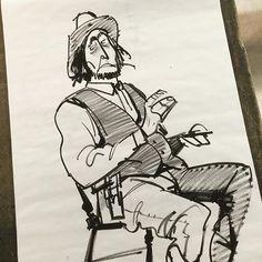 Drew a shifty eye lazy cowboy with badly drawn fingers today. Haha #sheridananimation #lifedrawing #thosefingersarefunny #cowboy