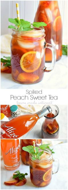 We've spiked this peach sweet tea with some peach vodka and filled it with frozen peaches for a summer cocktail recipe that is perfect for sipping out on the porch with friends after a long week. AlizeInColor | Ad #cocktailrecipes