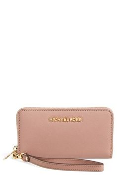 MICHAEL Michael Kors 'Large Jet Set' Saffiano Leather Phone Wristlet available at #Nordstrom