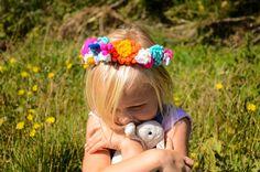 Colourful crochet flower crown by WaffleandNeep on Etsy