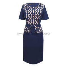 Φόρεμα μπλε με πουά ροζ Φορέματα Short Sleeve Dresses, Dresses With Sleeves, Casual Looks, Shopping, Fashion, Moda, Sleeve Dresses, Fashion Styles, Gowns With Sleeves