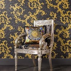 Baroque & Roll by Versace - Gold / Charcoal - Wallpaper : Wallpaper Direct Versace Home, Versace Casa, Versace Brand, Gianni Versace, Vinyl Wallpaper, Wallpaper Decor, Home Wallpaper, Leaf Design, Baroque
