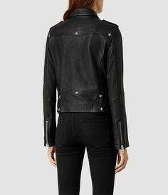 Women's Raven Leather Biker Jacket (Black) - product_image_alt_text_3