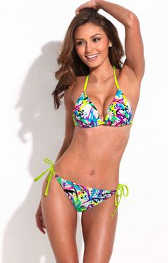 6e169ba814399 Shop Doodle Print Triangle Top Bikini Set with Neon Yellow Ties online.  SheIn offers Doodle Print Triangle Top Bikini Set with Neon Yellow Ties &  more to ...