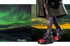 Prada fall 2016 ad campaign by Steven Meisel Fashion Tape, Fashion Socks, Fashion Advertising, Advertising Campaign, Ads, Mountaineering Boots, Chanel, Miuccia Prada, Prada Shoes