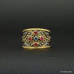 SAPPHIRE RUBY BYZANTINE 925 STERLING SILVER 22K GOLD BLACK RHODIUM PLATED RING #IreneGreekJewelry #Band