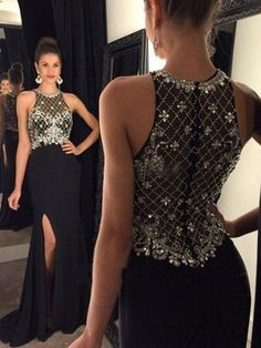 Sheath/Column Scoop Neck Fashion Black Chiffon Split Front Prom Dresses #Milly020102325
