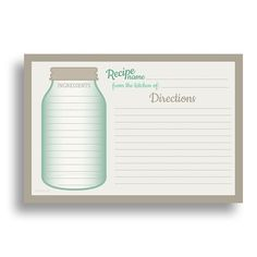 Water Resistant Recipe Cards, Set of 48, 4x6 inches, Mason Jar