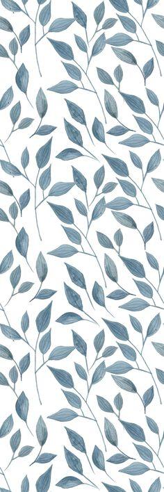 Removable Wallpaper Self Adhesive Wallpaper Handdrawn Blue Leaves Peel & Stick Wallpaper