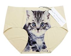 LATHPIN Ladies Antiexposure Cat Printed Hipsters Knickers Briefs Underwear M Waist 3037 Cat 03Beige *** For more information, visit image link.