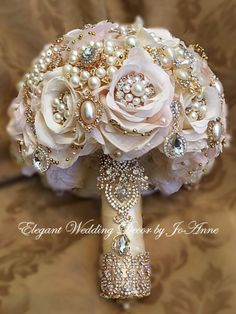 """CUSTOMLarge 27"""" in circumference Bridal Brooch Silk Flower Bouquet - $485.00 *** $485 is the Full Price of this Design *** - $285 is the DEPOSIT to place you"""