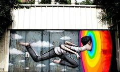 Street art graffiti rainbow colorful art by Seth
