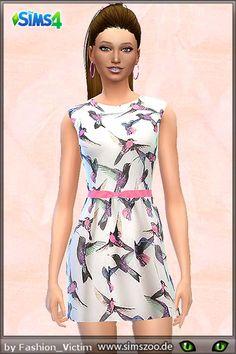 Blackys Sims 4 Zoo: Vogel print dress by Fashion Victim • Sims 4 Downloads