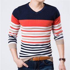 Free Shipping 2015 Autumn Long-sleeve Sweater Male Jacquard Stripe V-neck Sweater Fashion Modern Top