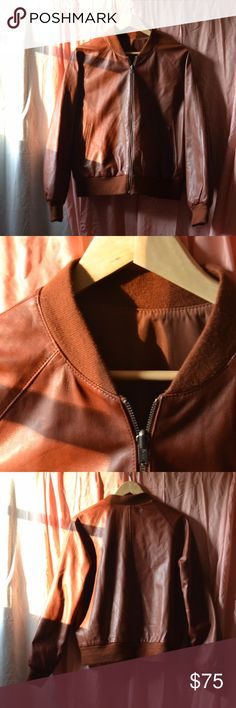Vintage Reversible Brown Leather Varsity Jacket, M Vintage Wilson's Leather Reversible Brown Leather Jacket in perfect condition. Both sides are stylish, the one is genuine leather the other is a synthetic wind-blocking material. Women's size medium. Vintage Jackets & Coats Utility Jackets