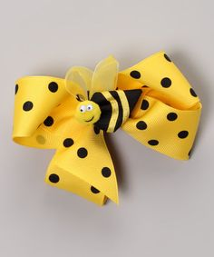 Take a look at this Maize Polka Dot Bow & Bumble Bee Clip Set by Picture Perfect Hair Bows on #zulily today!