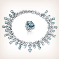 A diamond's cascade and the brightness of #aquamarine: this GHIRLANDA collier is a unique and precious jewel, a timeless classic. #pasqualebruni #ghirlanda #luxury #timeless #diamonds