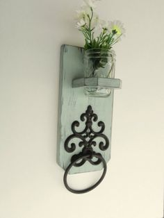 Cottage Styled Wooden Antiqued Towel Holder by midwesterntreasures, $25.50