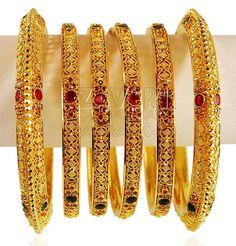 22 Karat Gold Stones Bangles Set
