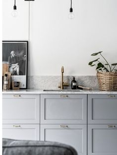 light gray cabinets in the kitchen