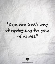 "How nice...""Dogs are God's way of apologizing for your relatives."" DOG SPELLED BACKWARDS IS GOD!"