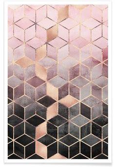 Pink Grey Gradient Cubes - Elisabeth Fredriksson - Premium poster