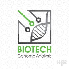 Clean modern logo with symbols of human genome and technology. Biotechnology, genetic, technology, medicine, macro, molecule, microscopic, biology, science, green, chromosome, nature, evolution, structure, human, bio, abstract, health, helix