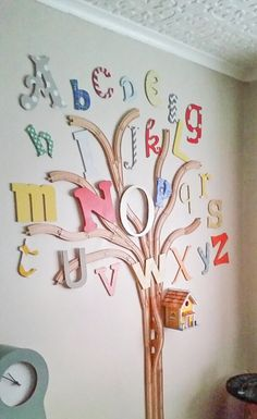 THE ALPHABET TRAIN TRACK TREE | Grillo Designs Love this idea for a kid's room. Using wooden train tracks to build a tree on the wall and decorating it with wooden ABC's and Iove the extra touch of the birdhouse & white picket fence.