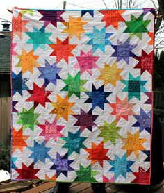 Wonky Star Quilt, finished, by Wombat Quilts Star Quilts, Scrappy Quilts, Baby Quilts, Patch Quilt, Rag Quilt, Quilt Blocks, Star Blocks, Postage Stamp Quilt, Applique Quilt Patterns